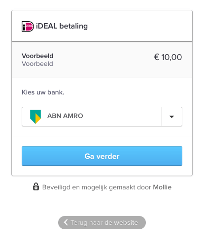 Mollie iDeal betaalscherm