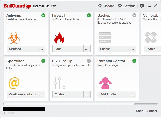 bullguard antivirus interface 2019