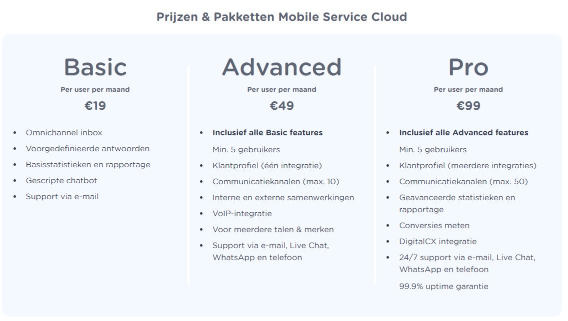 mobile service cloud pakketten